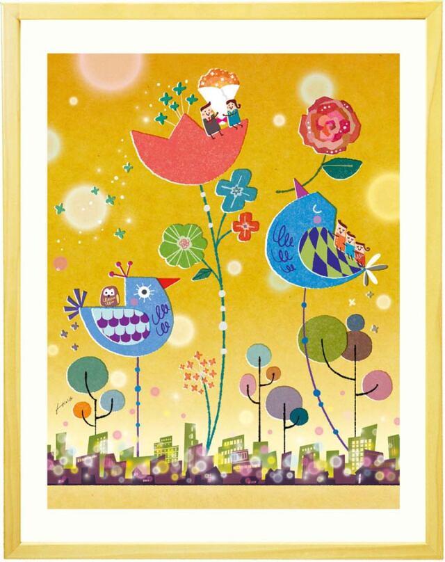 梟の絵、フクロウの絵画、縁起がいい絵、米寿祝いプレゼント、88歳のお祝い、母親へ花ギフト