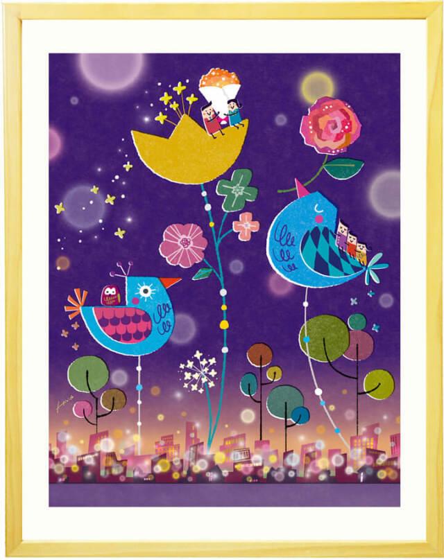 梟の絵、フクロウの絵画、縁起がいい絵、古希祝い、傘寿祝い、喜寿祝いプレゼント、お祝い