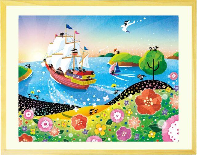 海と空と朝日の明るい絵画インテリア・元気が出る海の絵