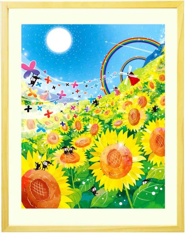 玄関や風水に黄色い花と青空のひまわり畑の絵画