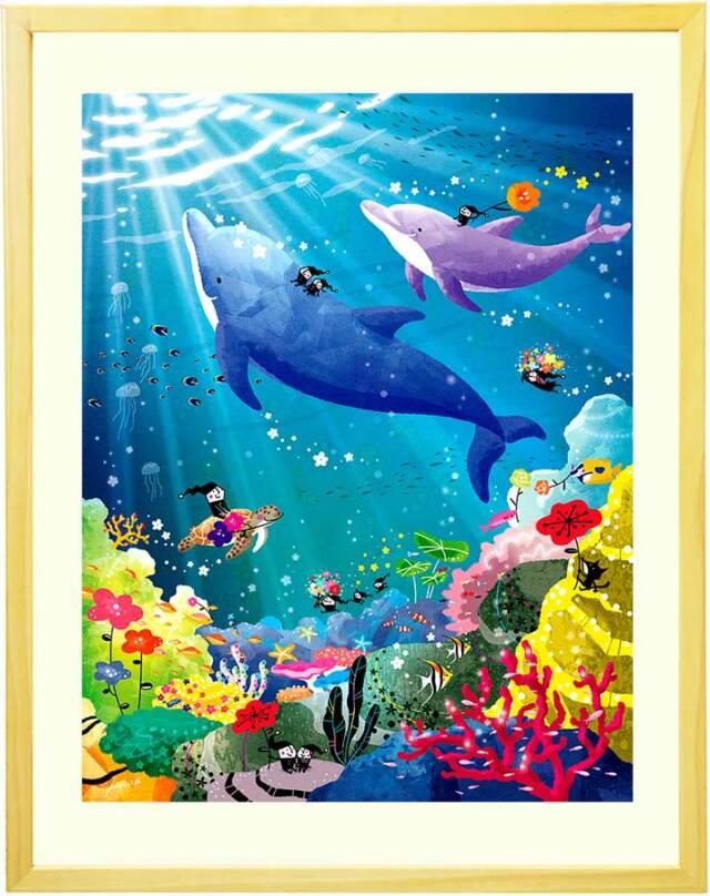 イルカの絵画・海の絵・ラッセン好きな方へおすすめ・サンゴ礁・ウミガメ