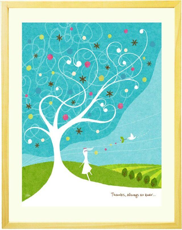 さわやかなブルーとグリーンのおしゃれな風景画の絵画