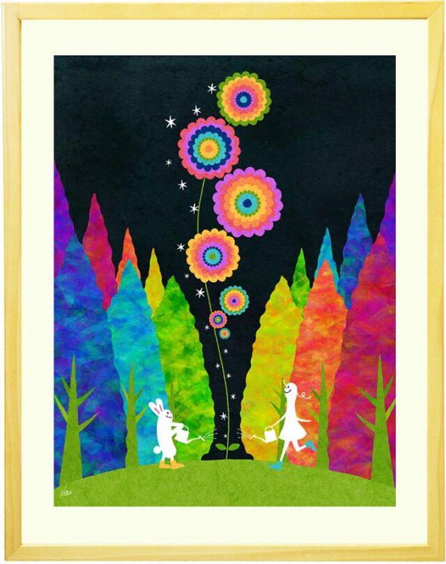かわいいウサギと花の絵、子どもの成長を願う絵画