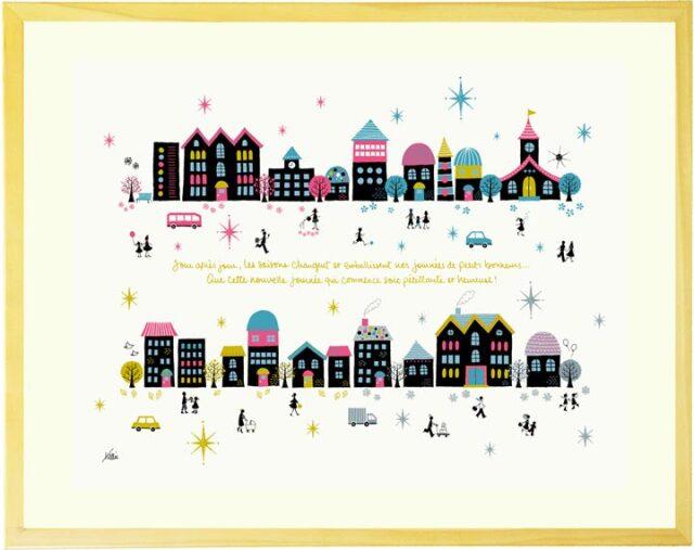 線画で街の四季や季節を描いた外国風のおしゃれな絵画