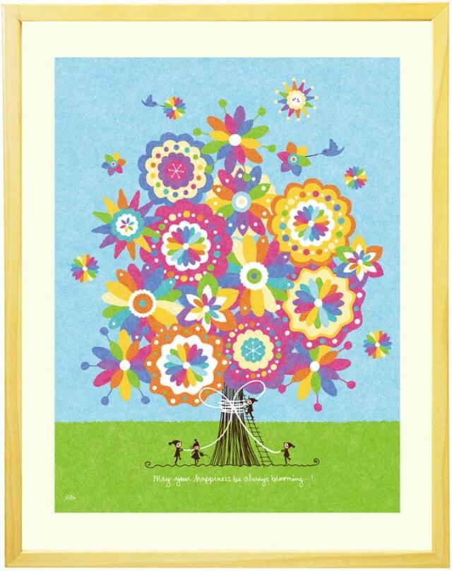 おしゃれな絵画、かわいい絵画、花の絵、虹色、家族の絵、可愛い、風水、人気、水色、インテリア、プレゼント