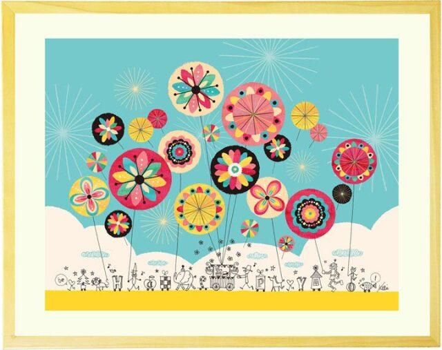 おしゃれでカラフルな花の絵画インテリア・アートポスター