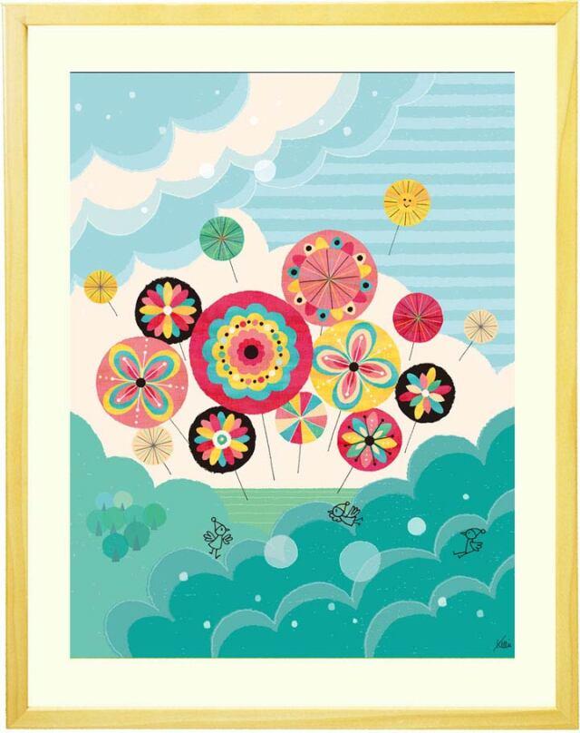 花の絵画、水色の絵、風船、かわいい、可愛い、インテリア、玄関・リビング、壁掛け絵画、額入り、プレゼント