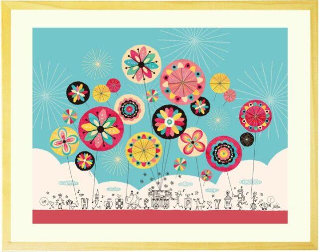 おしゃれな線画とカラフルな花火の絵画「幸せのパレード」Kellie