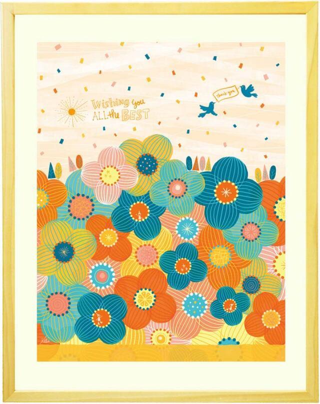 感謝をこめたオレンジ色の暖かい絵「ありがとうの花」