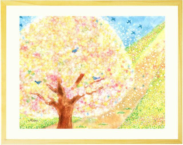 水彩画で描いた桜の絵・絵画・ピンクの美しい日本画