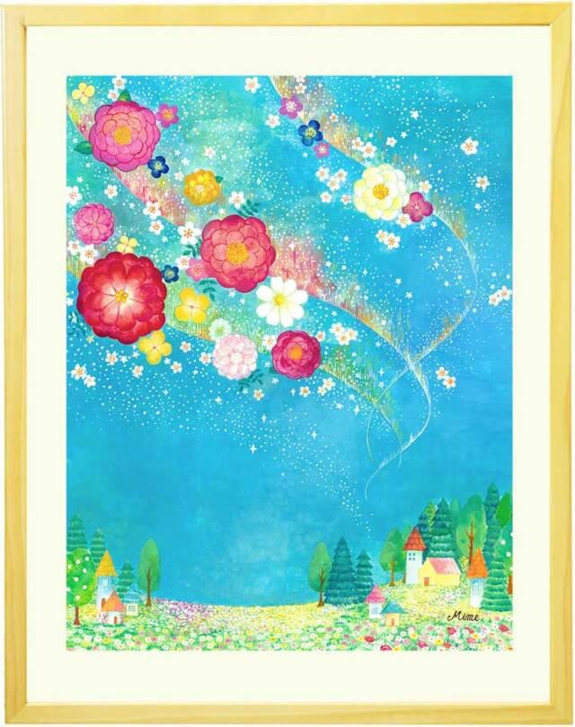 玄関や部屋に飾る絵・水彩画の花とオーロラの絵画