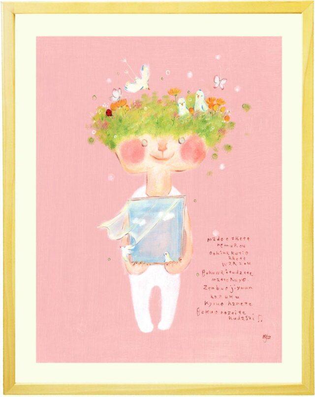 優しい絵画、癒し、花の絵、鳥、ピンク、インテリア、玄関・リビング、壁掛け絵画、額入り、プレゼント
