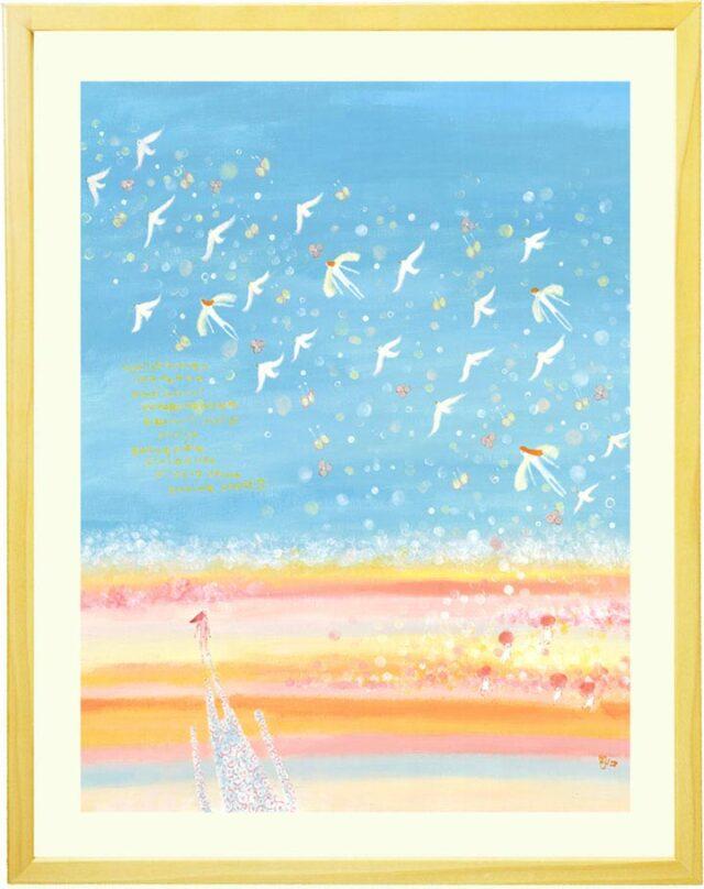 応接室や病院・店舗に飾るブルーの海と空の絵画(青・水色)