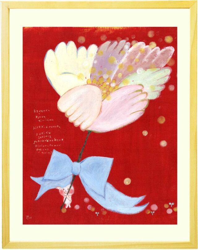 背景が赤色の面白い花の絵画「よろこびの花」