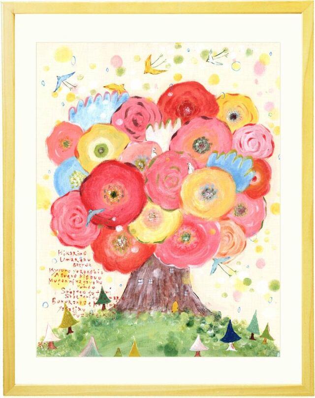 花の絵画、玄関、風水、人気、おすすめ、名入れ、名前入り、ピンク、明るい絵画インテリア、玄関・リビング、プレゼント