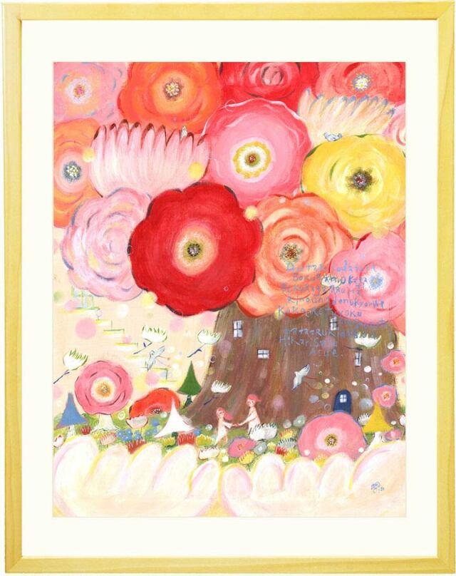 妻への花婚式・結婚記念日プレゼントに幸せの花の絵画・ピンク・赤