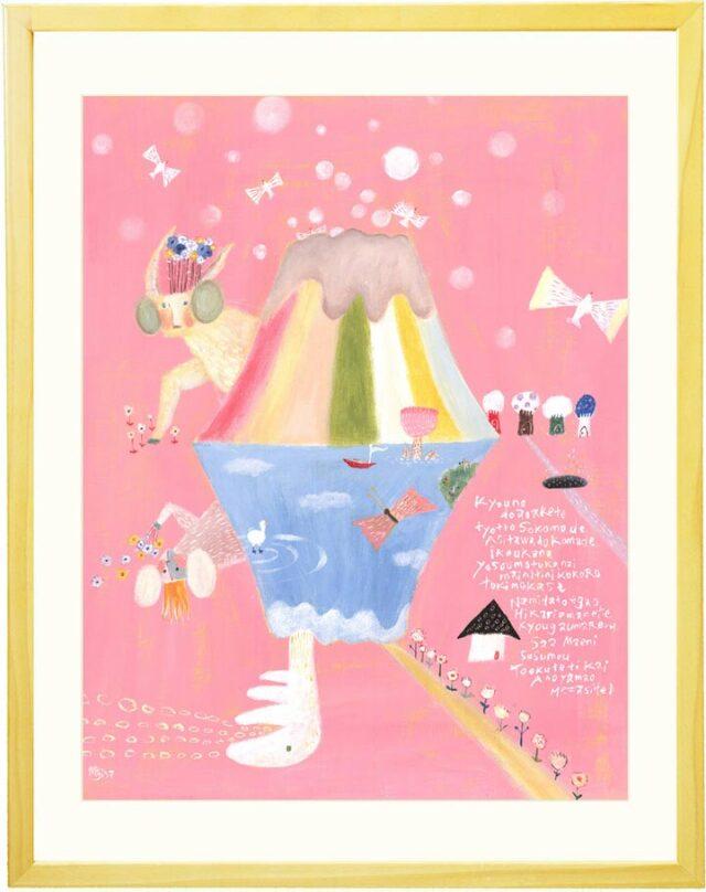 ピンクと水色の楽しい絵・おもしろい絵画