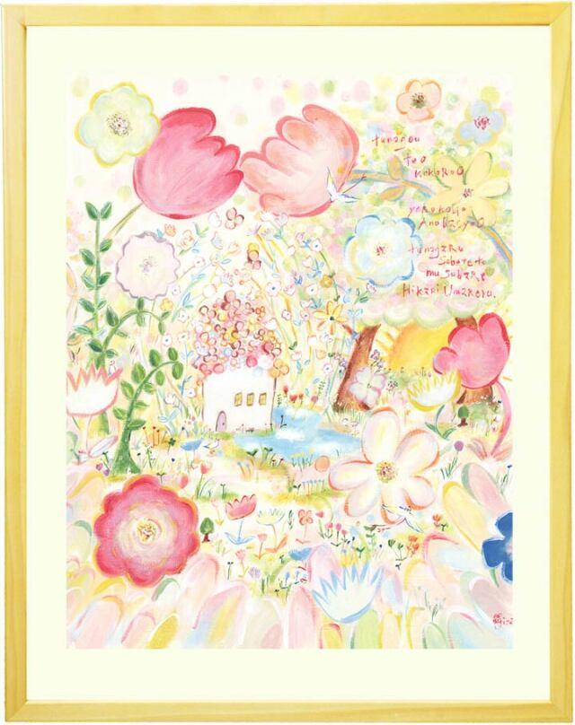 玄関や風水に植物と花と庭園の優しい絵画