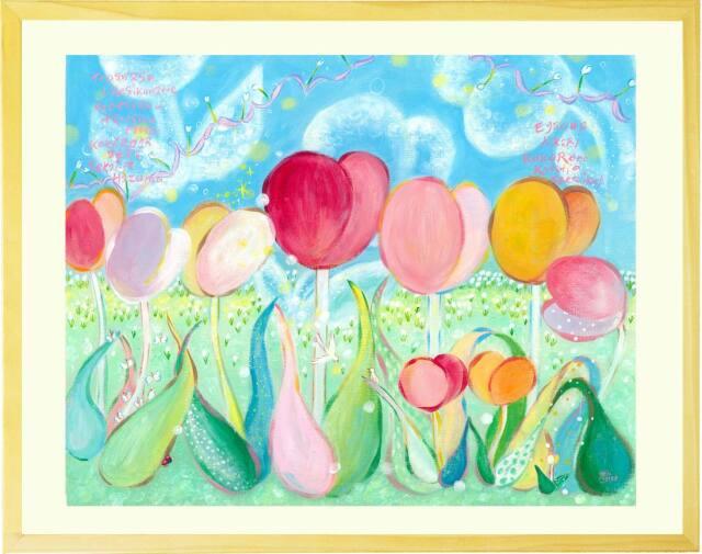 チューリップの絵画・春の花の絵・幸せ・喜び(ブルー・ピンク)
