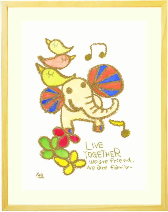 動物と家族の絵画・クレヨン画・水彩画・ポップ・可愛い絵画・かわいい・ゾウ