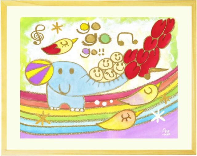 ゾウさんの絵画・幼稚園や保育園・子供部屋のインテリア