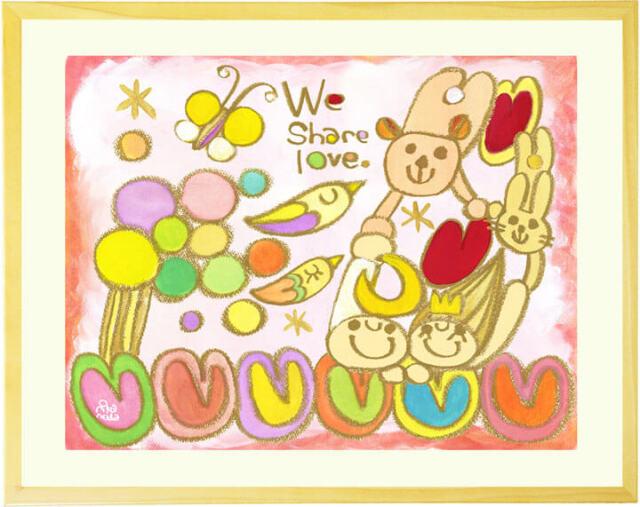 動物と家族の絵画・クレヨン画・水彩画・ポップ・可愛い絵画・かわいい・クマ・ウサギ