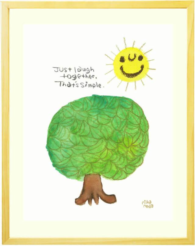 風景画、太陽、木、グリーン、笑顔、優しい絵、インテリア、玄関・リビング、壁掛け絵画、額入り、プレゼント