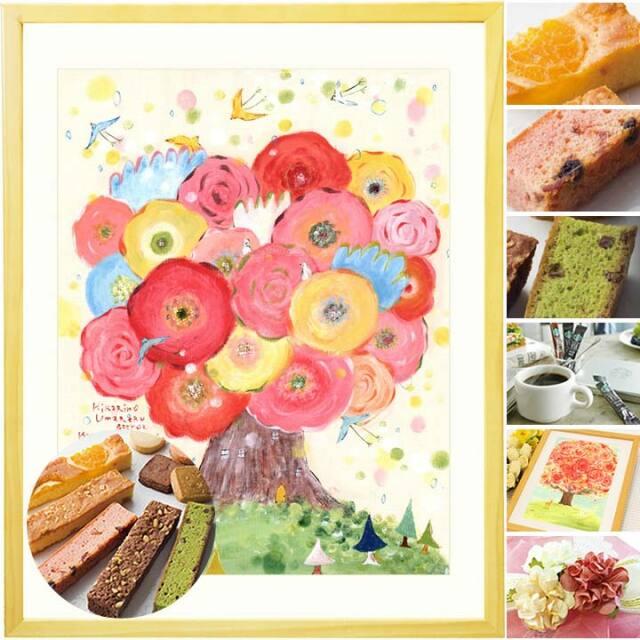 女性や母の誕生日プレゼントに花の絵画と焼き菓子スイーツセット