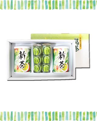 新茶(100g×2本)・ようかん(3個袋入り×2本)セット
