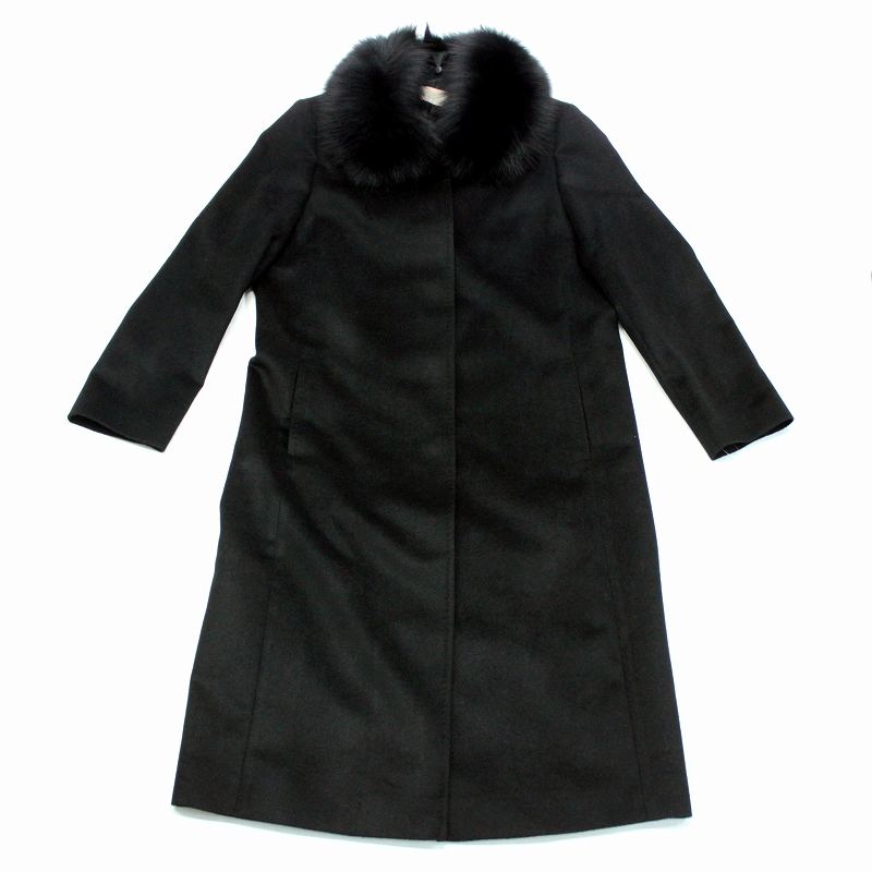 カシミヤコート レディース フォックスカラー FOX 衿 ロングコート カシミヤ100% ブルーフォックス 毛皮 ファー 511A