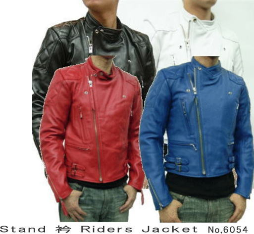 【メンズ ライダースジャケット】カウ革ジャン スタンドカラー ライダース レザージャケット 6054