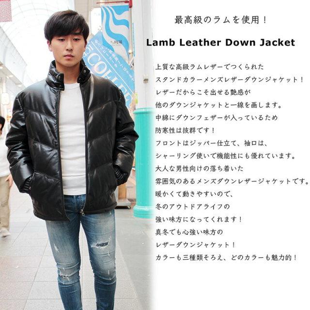 ラム革 ダウンジャケット メンズ スタンドカラー ブラック/ダークブラウン/キャメル M/L/LL/3L/ 1212-1