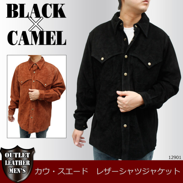 メンズ レザーシャツ カウ革 メンズ 長袖シャツタイプ スエードジャケット12901