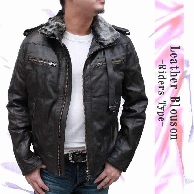 レザージャケット メンズ 本革 ライダースジャケット キルティング加工 ラムレザージャケット レザーブルゾン 14801