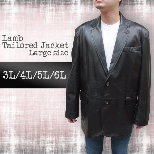 大きいサイズ レザージャケット メンズ ラム革 2つボタン テーラードジャケット3091
