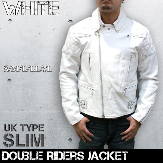 革ジャン メンズ (ホワイト)UKタイプ パッディングレザー ダブルライダース レザージャケット3568