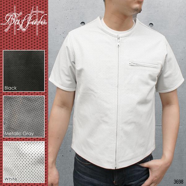 大きいサイズ メンズ レザーシャツ バッファロー革 半袖タイプ パンチング加工 革シャツ レザージャケット 3698