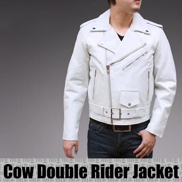 メンズ ライダースジャケット カウ革レザーダブルライダースジャケット4717