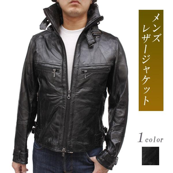 レザージャケットメンズラム革ジャケットパッチワークスタンドカラージャケット4821