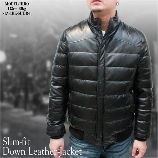 ダウンジャケット メンズ レザージャケット スリムフィット 53274
