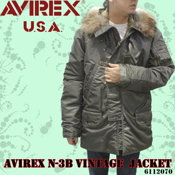 メンズ AVIREX アヴィレックス N-3B フードファー付き ヴィンテージジャケット 6112070
