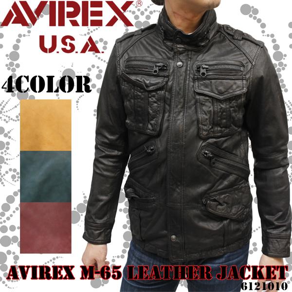 【 AVIREX ジャケット 】AVIREX メンズ・M-65 レザージャケット6121010《送料無料》