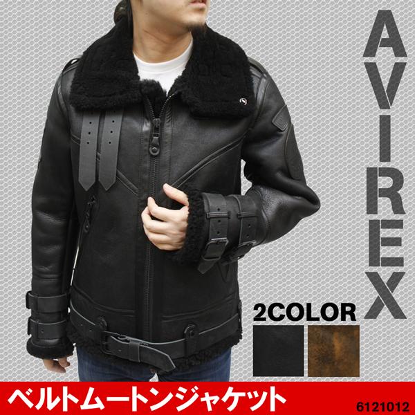 【 AVIREX レザー 】アビレックス ベルト ムートンジャケット 6121012《送料無料》