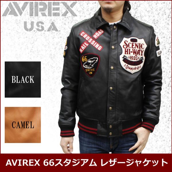 AVIREX 革ジャン メンズ AVIREX 66スタジアム レザージャケット 6121023