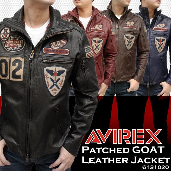 メンズ AVIREX アビレックス パッチドゴート (ヤギ革) ステンカラー レザージャケット 6131020