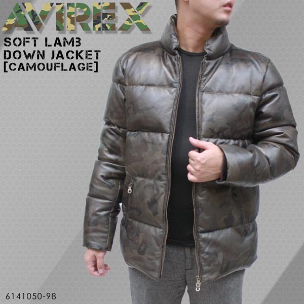 [カモフラ柄]AVIREX(アヴィレックス) ソフトラム レザーダウンジャケット 6141050-98