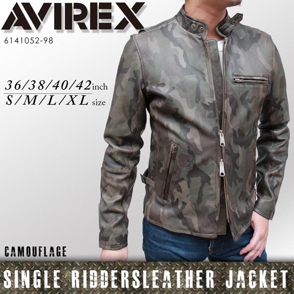 AVIREX(アヴィレックス) メンズ ライダースジャケット シングル レザージャケット Single Riders 6141052[98]《送料無料》
