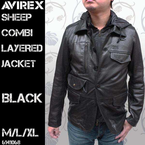 AVIREX(アヴィレックス) シープスキン コンビレイヤード レザージャケット 6141068【送料無料】