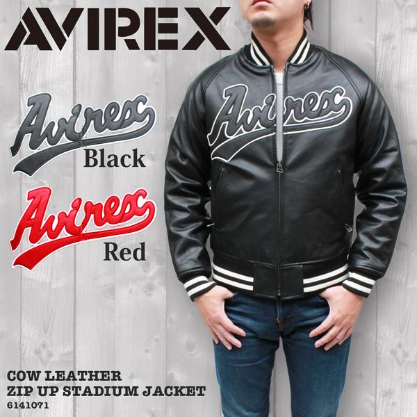 AVIREX/アヴィレックス カウ(牛革)ジップアップ スタジアム レザージャケット 6141071