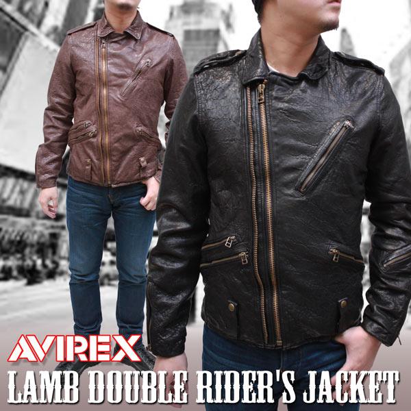 【AVIREX アヴィレックス】ラム革 ウォッシュ加工 ダブルライダース レザージャケット 6151068【送料無料】